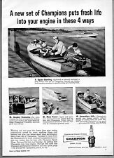 1957 Vintage Ad Champion Spark Plugs Boats & Outboard Motors