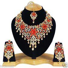Gold Plated Bridal Style  Kundan Zerconic Designer Necklace Set Big Earrings