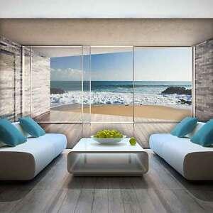 Vlies Fototapete 3D Ausblick Terrasse Meer Strand Fensterblick Wohnzimmer 99