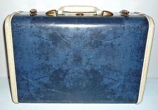"Vintage BLUE Marble SAMSONITE 15""x10"" Suitcase Luggage Style 4715 Stacking Decor"
