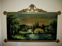 1920s ITALIAN VELVET PAINTING TAPESTRY POLYCHROME BARBOLA FRAME COTTAGE BROOK
