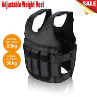 44/110lbs Weighted Vest Fitness Workout Training Boxing Jacket Adjustable Black