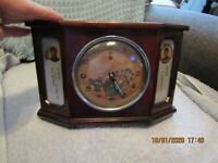 Undated working Mao Tse Tung Red Chinese wind up alarm clock w/wood case. AS IS.