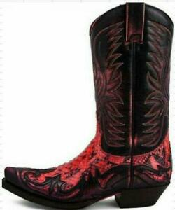 Mens Retro Embroidered Mid Calf Western Cowboy Color stitching Boots Shoes sz