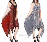 Handkerchief Hem Print Dress by DivaCollection Sizes 10 - 22