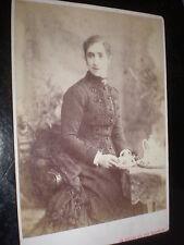 Cdv cabinet old photograph woman has tea by Nesbitt London c1890s