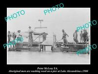OLD LARGE HISTORIC PHOTO OF POINT McLEAY SA, ABORIGINAL TEAM WASHING WOOL c1900