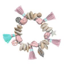 Armband Hippie Ibiza Peace Fransen Stern Star elastisch Muschel Münze rosa NEU