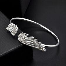 Wedding Love Bird Angel Wing Cubic Zirconia Hand Chain Bracelet Bangle Jewelry