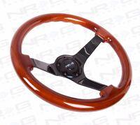 "NRG Steering Wheel Classic Wood Grain 350mm & Black Finish Spoke 3"" Deep Dish"