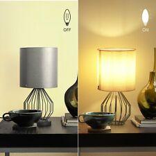 Aglaia Minimalist Fabric Desk Lamp Modern Silver Chrome Metal Basket Cage Style
