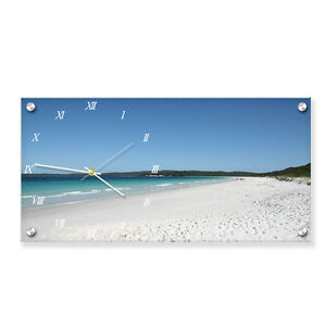 Personalized acrylic rectangle wall picture with built-in clock. Photo printed