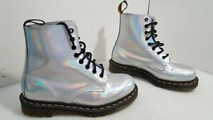 Dr. Martens Womens Silver Pearlescent Leather High Top Boots Size 8L