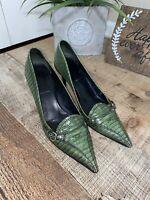 MIU MIU Embossed Green Lizardskin Leather Pointed Toe Slip On High Heel Pumps
