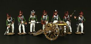 Tin soldier, Collectible Russian Artillery Crew and Cannon 54 mm, Napoleonic