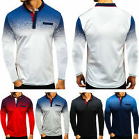 US Mens Long Sleeve Gradient Shirts Golf Classic Fit Tops Blouse T-shirt Tops DM