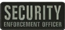 SECURITY ENFORCEMENT OFFICER embroidery patches 4x10  hook on back blk/gr