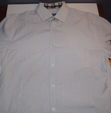 Used Mens Stone Rose Dress Shirt Large Button Down Up Light Blue Yellow Plaid L