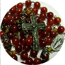 Natural Kaliningrad Amber bead Carnelian Rosary Cross crucifix catholic necklace