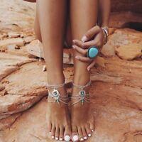 Fußkette Türkis Stone Fußschmuck Futßkettchen  Barefoot Sandal  Hippie Boho F7