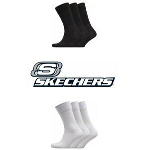 NEW BRANDED COTTON SKECHERS MENS BOYS 3 PAIRS  CREW SOCKS BLACK OR WHITE UK 6-8