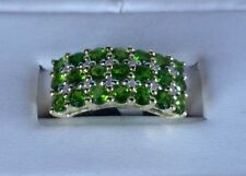 Size 7 Chrome Diopside & White Zircon 9K Yellow Gold Ring TGW 2.12 carats