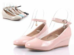 """Dusty Rose Color Ankle Strap Faux Leather Girls Kids 1/2"""" Wedge Heels Size 10"""