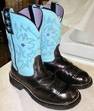 WOMEN 9 B Black & Teal ARIAT Probaby # 16707 Saddle Vamp ROPER WESTERN BOOTS