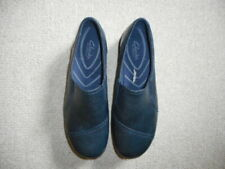 "Womens Shoes-CLARKS-""In Motion"" navy leather slip-ons-10W"