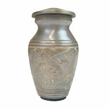 Mini Keepsake Urn Small Cremation Ashes Funeral Memorial Grey Gold Diamond Cut