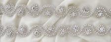 Applikation  Borte Silber-Crystal Hochzeit Brautkleid  Strass Glasperlen 30 cm
