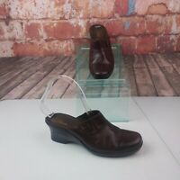 CLarks Brown Leather Clogs Mules Size 8M