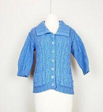 Aran Crafts XXS Cardigan Sweater Blue Merino Wool Cable Knit Misse