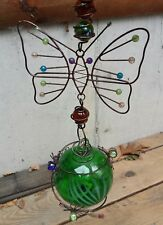 Blown Glass With Brass Hummingbird Feeder Green Candy Swirl With Metal Butterfly