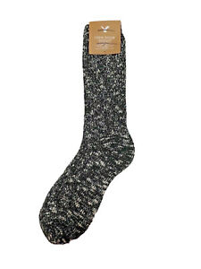 American Eagle Outfitters black heather glittery womens crew sock one size most