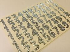 55 x Number Glitter Self Adhesive Stick on Glittery Silver 12mm Craft Card