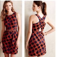 Anthropologie Maeve polka dot cross back sleeveless with pockets dress size 4