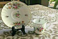 Vintage Mintons Marlow Demitasse Cup And Saucer Floral - England c1938-58