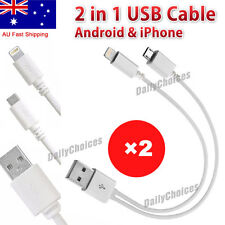 2 In1 Universal USB Charger Cable Cord Wire for iPhone 4s 5 5c 6 7 8 Samsung HTC