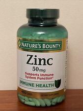Nature's Bounty Zinc Gluconate 50mg 400 Caplet Immune System Support Exp 11/24