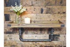 Rustic Metal Industrial Warehouse Style Pipe & Wood Wall Shelf Rail Shelving