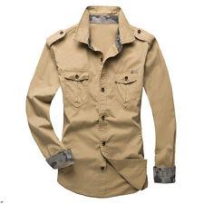 Men's Casual Long Sleeve Cargo T-shirts Military Dress Shirt Double Pockets Top