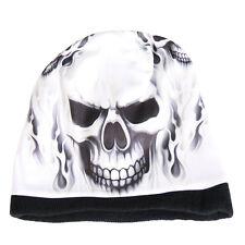 SKULL & FLAMES Beanie Knit Cap Motorcycle Biker Hat Tribal Ski Snowboard WHITE