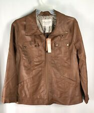 NWT American Rag Women's 3XL Light Brown Faux Leather Jacket