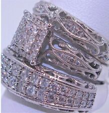 3 pieces/set of fashionable colorful zircon inlaid metal ring. Size 7. Silver