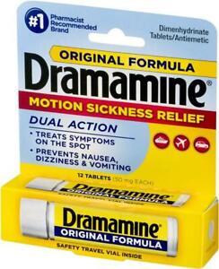 Dramamine Original Formula Motion Sickness Relief  12 Tablets Car Journey Travel