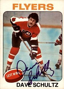 """Dave """"The Hammer"""" Schultz Signed 1975-76 O-Pee-Chee Card #147 Philadelphia Flyer"""