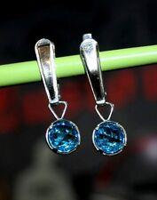 Shining blue Stones Ukrainian Vintage EARRINGS SILVER USSR
