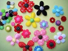 200 Mix Satin Polka Dot Flower Center Circle Top Applique/Felt Back/Trim H39