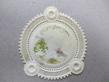ANTIQUE Celluloid New Year Embossed Hand Painted Circular